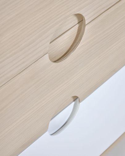Nunila Kommode Eschenfurnier und Beine aus massivem Eschenholz 90 x 90 cm
