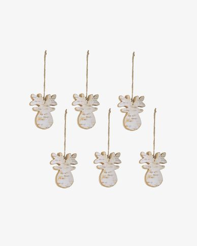 Set Alira di 6 renne decorative pendenti