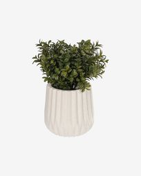 Milan Leaves artificial plant with white ceramic planter, 23.5 cm