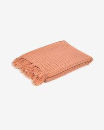 Shallow 100% cotton blanket in orange 130 x 170 cm