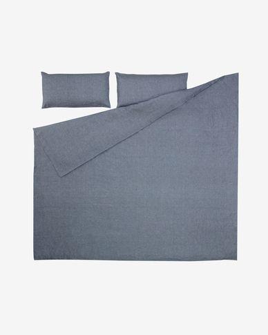 Komplet Eglantina prześcieradło i poszwa na kołdrę i poduszkę niebieska 220 x 220 cm