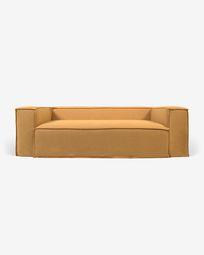 Blok 2-Sitzer Sofa mit abnehmbarem Bezug in Leinen senfgelb 210 cm