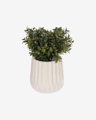 Kunstplant Milan Leaves met witte keramische plantenbak 23,5 cm