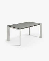 Extendable table Axis 160 (220) cm porcelain Hydra Lead finish gray legs
