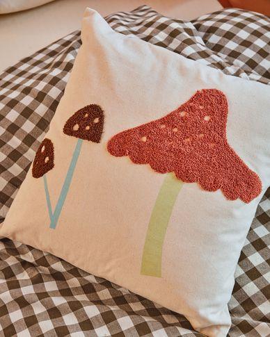 Housse de coussin Leshy 100% coton champignons multicolore 45 x 45 cm
