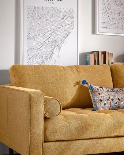 Debra 3-zits sofa in mosterd 222 cm