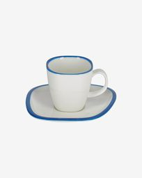 Odalin porcelain cup and saucer in blue and white