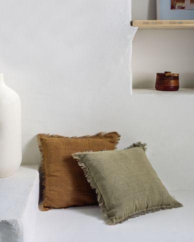 Almira bruine katoenen en linnen kussenhoes met franjes 45 x 45 cm