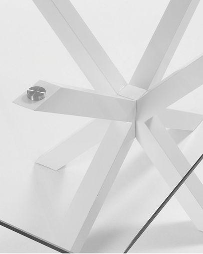 Mesa Argo 160 x 90 cm cristal patas de acero acabado blanco