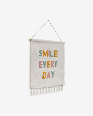 Adelina smile every day wall tapestry, white and multicolour 52 x 60 cm