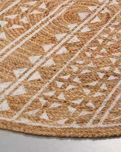 Tappeto Cecily Ø 100 cm naturale e bianco