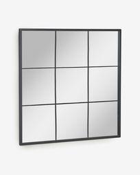 Wandspiegel Ulrica van zwart metaal 80 x 80 cm
