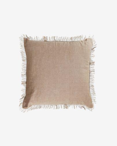 Funda cojín Abinadi de algodón y lino flecos beige 45 x 45 cm