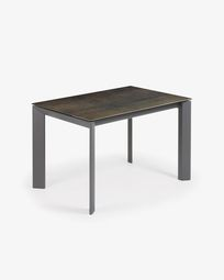 Extendable table Axis 120 (180) cm porcelain Iron Moss finish anthracite legs