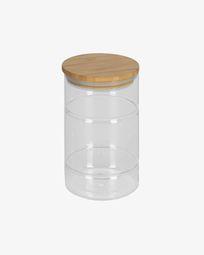 Bote Catia grande de cristal transparente y madera de bambú
