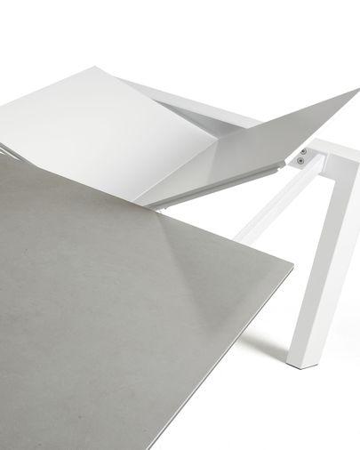 Mesa extensible Axis 140 (200) cm porcelánico acabado Hydra Plomo patas blanco