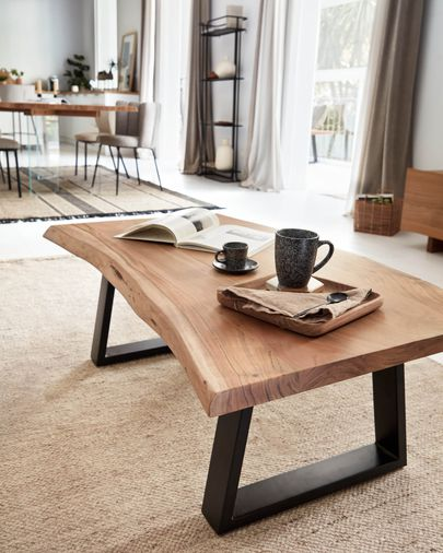 Mesa de centro Alaia de madera maciza de acacia con acabado natural 115 x 65 cm