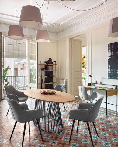Leska Tisch 200 x 110 cm aus massivem Mangoholz und schwarzen Stahlbeinen