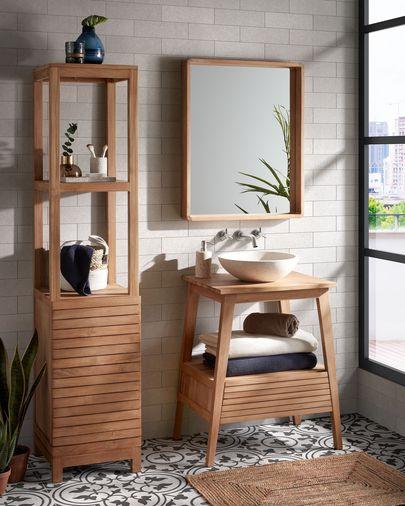 Móvel para casa de banho Kuveni 70 x 91 cm madeira maciça de teca