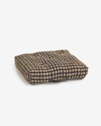 Jute and black natural cotton floor-pallet cushion Adelma 63 x 63 cm