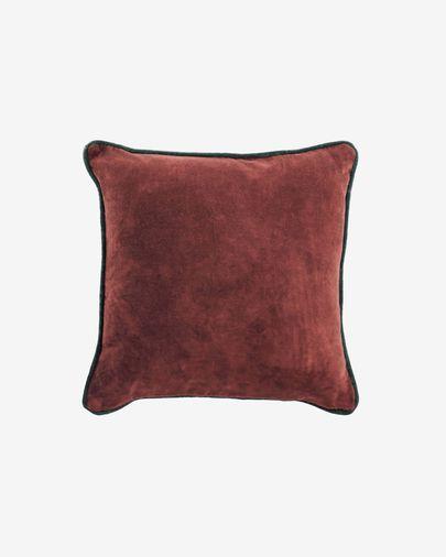 Funda cojín Julina 100 % algodón terciopelo rojo y borde verde 45 x 45 cm