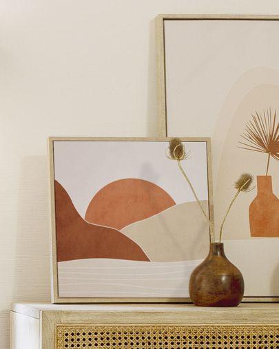 Kunstwerk Izem met zon en bruine bergen 40 x 40 cm