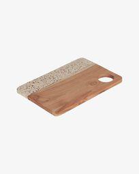 Taula de servir Verna rectangular de fusta i terratzo blanc