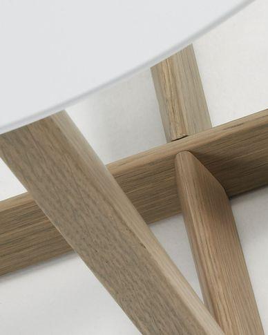 Mesa auxiliar Hodor Ø 60 cm blanco y roble
