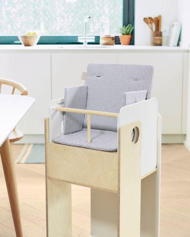 100% organic cotton (GOTS) Nuun highchair cushion in blue stripes