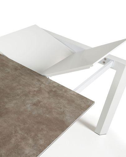 Extendable table Axis 160 (220) cm porcelain Vulcano Ash finish white legs