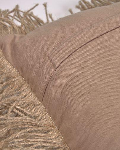 Beige kussenhoes Delcie van katoen met juten franjes 45 x 45 cm