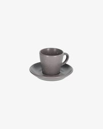 Aratani dark grey cup with plate