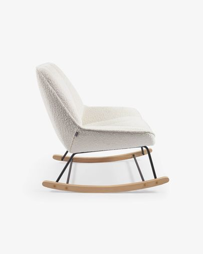 Marlina shearling-style rocking chair in white