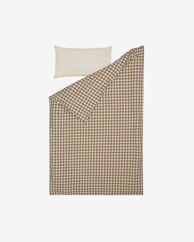 Parure Indalina drap,housse couette,taies oreiller 100% coton bio GOTS vichy 90 x 190 cm