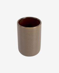 Berdolina brown ceramic toothbrush holder