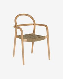 Sheryl chair made from solid eucalyptus and beige cord FSC 100%