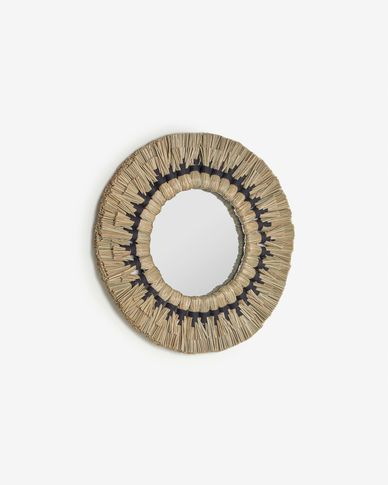 Akila round mirror made from green natural fibres and black cotton cord, 70 cm