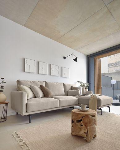 Sofa 3-osobowa Galene z prawym szezlongiem beżowa 254 cm