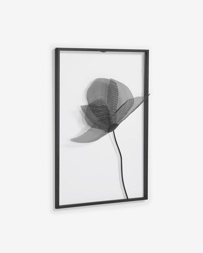 Nakita black metal flower picture 40 x 46 cm