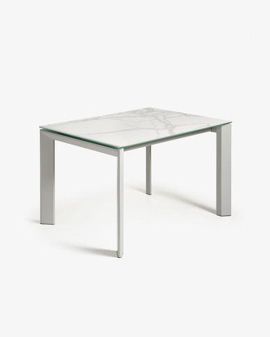 Table extensible Axis 120 (180) cm grès cérame finition Kalos Blanc pieds gris
