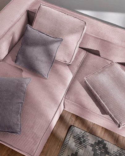 Blok 2-seater sofa with left-hand chaise longue in pink corduroy, 240 cm
