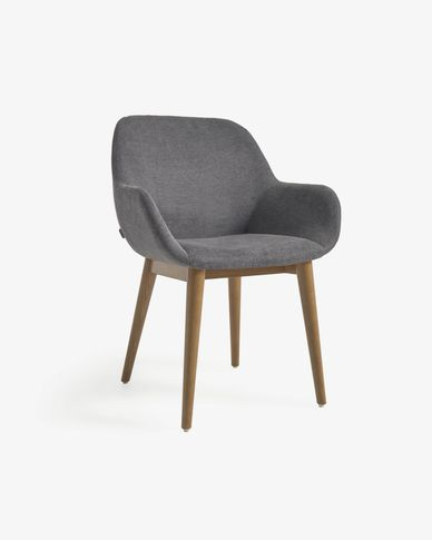 Konna chair in dark grey with solid ash legs