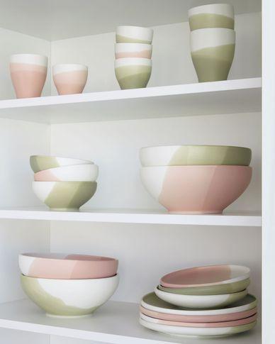 Bol grande Sayuri de porcelana verde y blanco