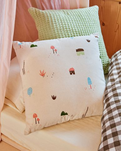 Housse de coussin Llaru 100% coton blanc maisons et champignons multicolore 45 x 45 cm