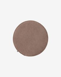 Sora round corduroy chair cushion in brown, 35 cm