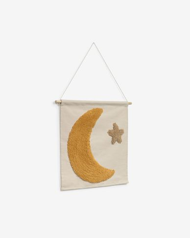 Hoshi 100% cotton wall tapestry with mustard moon and brown star 40 x 40 cm