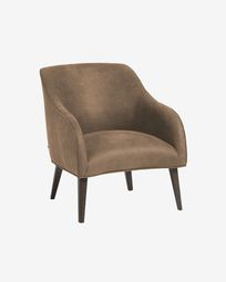 Bobly armchair with dark brown fabric and wenge finish legs