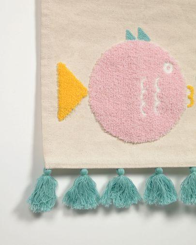 Tapiz mural Delmare 100% algodón pez multicolor 25 x 25 cm