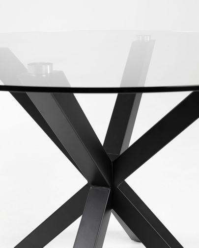 Mesa de centro Full Argo Ø 82 cm cristal patas de acero acabado negro