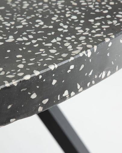 Mesa redonda Shanelle de terrazo negro y patas de acero acabado negro Ø 120 cm